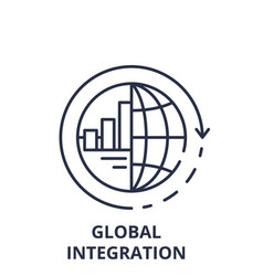 global integration line icon concept global vector image