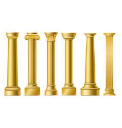 Golden columns classic antique gold pillars vector