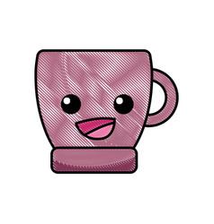grated happy coffee cup kawaii cartoon vector image