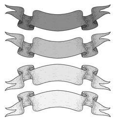 Gray ribbon banners set of scrolls hand drawn vector