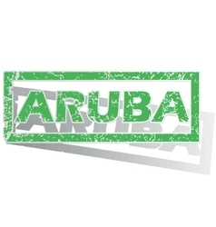 Green outlined Aruba stamp vector
