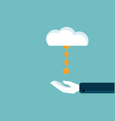 Hand receive money coins from cloud vector