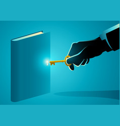 hand with golden key opening a book vector image