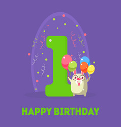 happy birthday 1 years banner template birthday vector image
