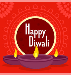 Happy divali concept background flat style vector