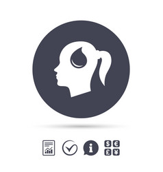 head with drop sign icon female woman head vector image