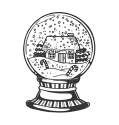 house glass sphere engraving vector image