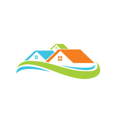 House wave colored logo vector