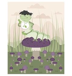 Inchworm eating up a mushroom vector image