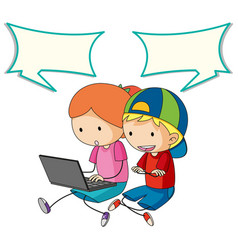kids talking with computer and speech bubble vector image
