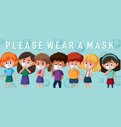 Kids wearing mask template vector