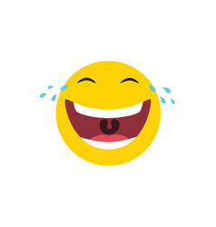 laughing emoticon with tears joy vector image