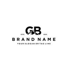 Letter gb mountain logo design vector
