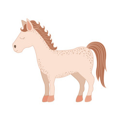 Light colors of cartoon horse standing with closed vector