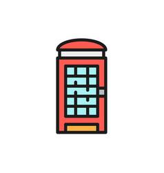 london phone booth english call box flat color vector image