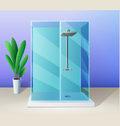 modern shower stall and indoor plant in vector image