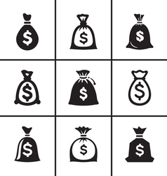 Money bags icon set vector image