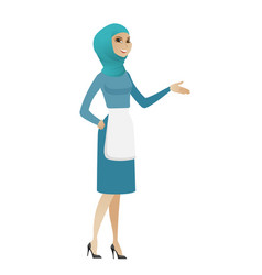 Muslim cleaner with arm out in a welcoming gesture vector