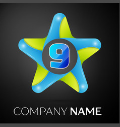 number nine logo symbol in the colorful star on vector image