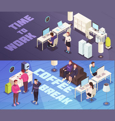 office isometric banners vector image