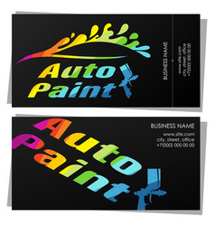 Painting auto business card design vector