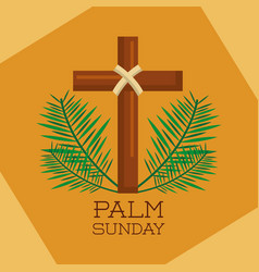 palm sunday sacred cross branches decoration vector image