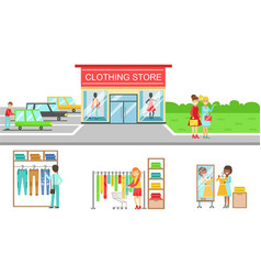 People shopping for clothes in store set clothing vector
