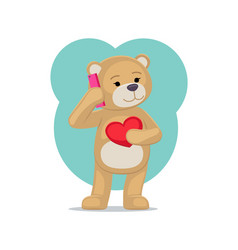 Plush bear toy speaking on telephone with his vector