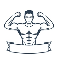 Posing athlete strong bodybuilder man isolated vector