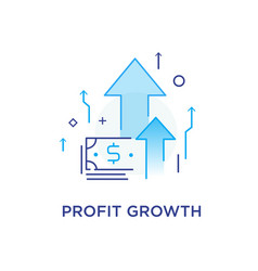 Profit growth bank notes way to success vector