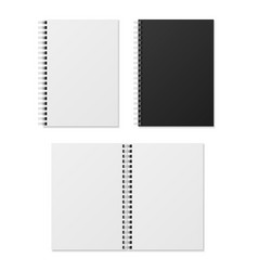 realistic notebook blank open and closed spiral vector image