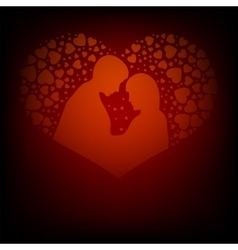 Red design with two lovers vector image