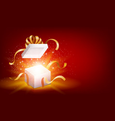 Red opened 3d realistic gift box with magical vector