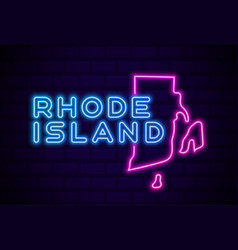 rhode island us state glowing neon lamp sign vector image