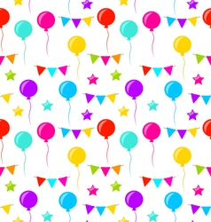 Seamless Texture with Bunting Party Flags Balloons vector image