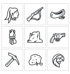 Set of Redskin Icons Red man Shotgun vector