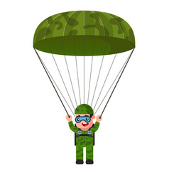 Skydiver in khaki military uniform parachute vector