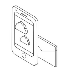 smartphone and cloud black and white vector image