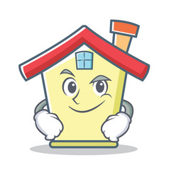 Smirking house character cartoon style vector