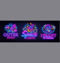 Space collection neon signs cosmic theme vector