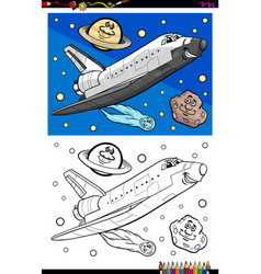 Space shuttle character coloring book vector
