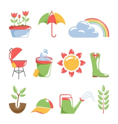 Spring icons isolated on white vector