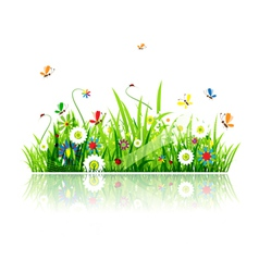 Summer green meadow vector