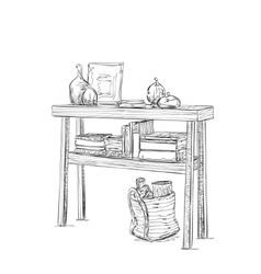 Table dishes and books Furniture sketch vector image