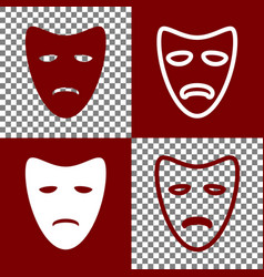 Tragedy theatrical masks bordo and white vector