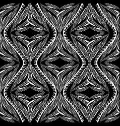 tribal black and white striped greek seamless vector image