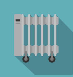 White electric heater on wheels icon flat style vector