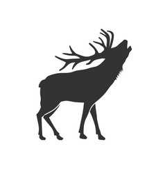 Wild animal reindeer drawn silhouette vector