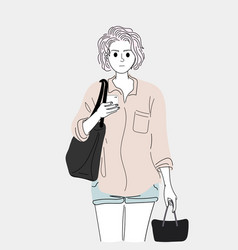 women chatting on smart phones while shopping vector image