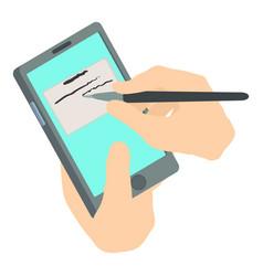 write phone icon isometric 3d style vector image